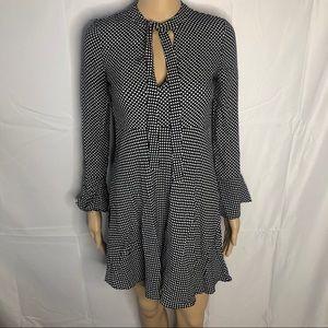 Zara Woman Polka Dot Tie Neck Bell Sleeve Dress